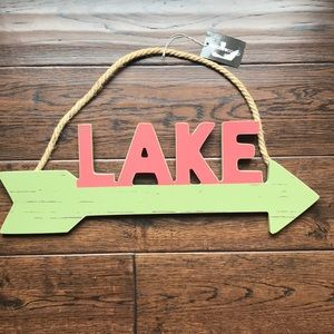 NWT rustic wooden lake sign